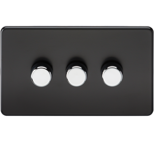 Knightsbridge SF2173MB Screwless 3G 2 WAY 40-400W Dimmer Switch - Matt Black