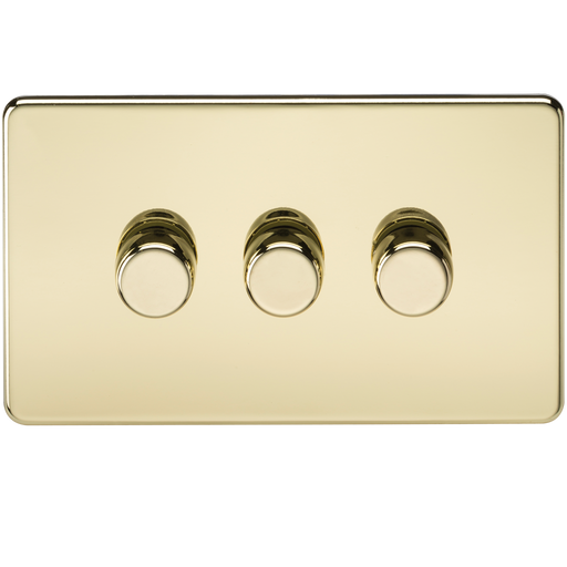 Knightsbridge SF2173PB Screwless 3G 2 WAY 40-400W Dimmer Switch - Polished Brass
