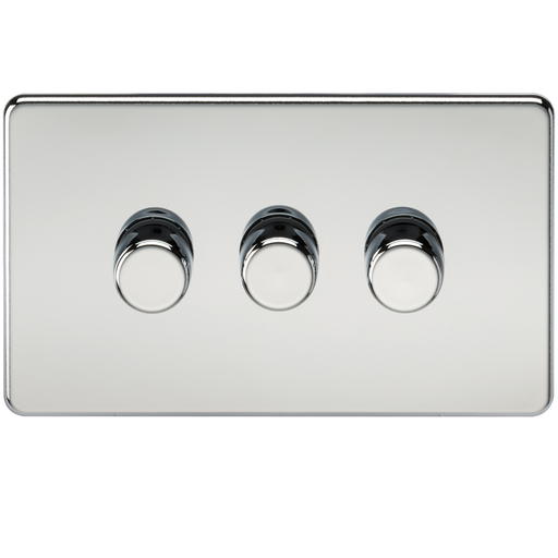 Knightsbridge SF2183PC Screwless 3G 2-way 10-200W (5-150W LED) Trailing edge dimmer - Polished Chrome - Knightsbridge - Sparks Warehouse