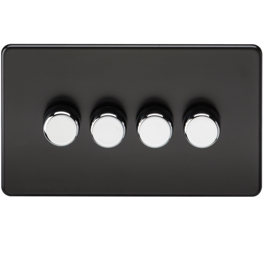 Knightsbridge SF2174MB Screwless 4G 2 Way 40-400W Dimmer Switch - Matt Black