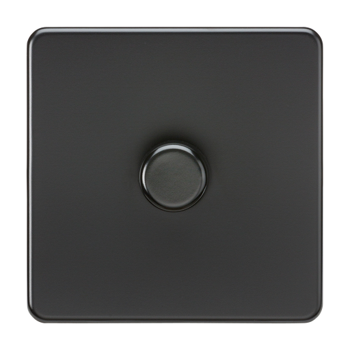 Knightsbridge SF2181MBB Screwless 1G 2 Way 40-200W Dimmer Switch - Matt Black - Black Knob - Knightsbridge - Sparks Warehouse