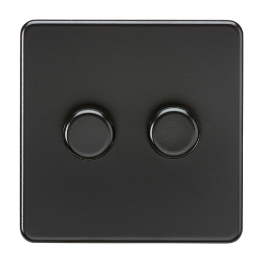 Knightsbridge SF2182MBB Screwless 2G 2 WAY 40-200W Dimmer Switch - Matt Black - Black Knob - Knightsbridge - Sparks Warehouse
