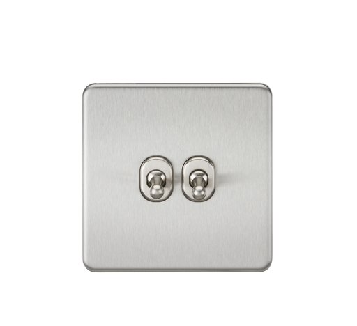 Knightsbridge SF2TOGBC 10A 2G 2 Way Toggle Switch - Brushed Chrome - Knightsbridge - Sparks Warehouse