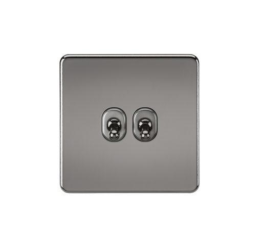 Knightsbridge SF2TOGBN 10A 2G 2 Way Toggle Switch - Black Nickel - Knightsbridge - Sparks Warehouse