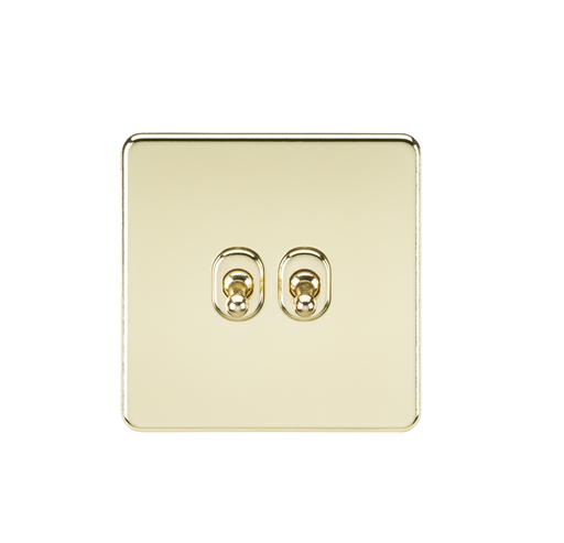 Knightsbridge SF2TOGPB 10A 2G 2 Way Toggle Switch - Polished Brass