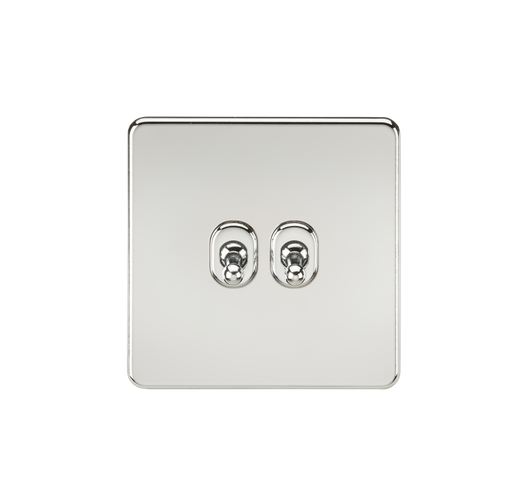 Knightsbridge SF2TOGPC 10A 2G 2 Way Toggle Switch - Polished Chrome - Knightsbridge - Sparks Warehouse