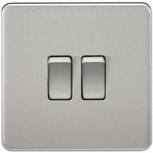 Knightsbridge SF3000BC Screwless 10A 2G 2 WAY Switch - Brushed Chrome - Knightsbridge - sparks-warehouse