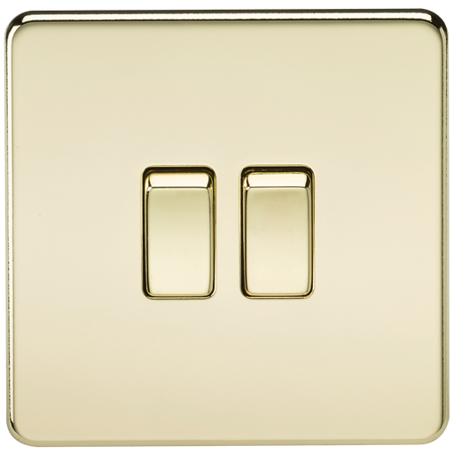 Knightsbridge SF3000PB Screwless 10A 2G 2 WAY Switch - Polished Brass