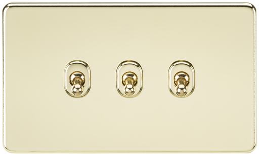 Knightsbridge SF3TOGPB Screwless 10A 3G 2 WAY Toggle Switch - Polished Brass