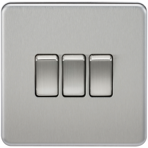 Knightsbridge SF4000BC Screwless 10A 3G 2 WAY Switch - Brushed Chrome