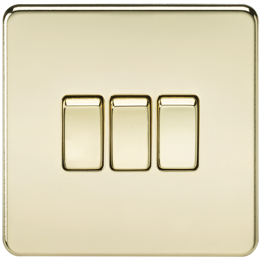 Knightsbridge SF4000PB Screwless 10A 3G 2 WAY Switch - Polished Brass