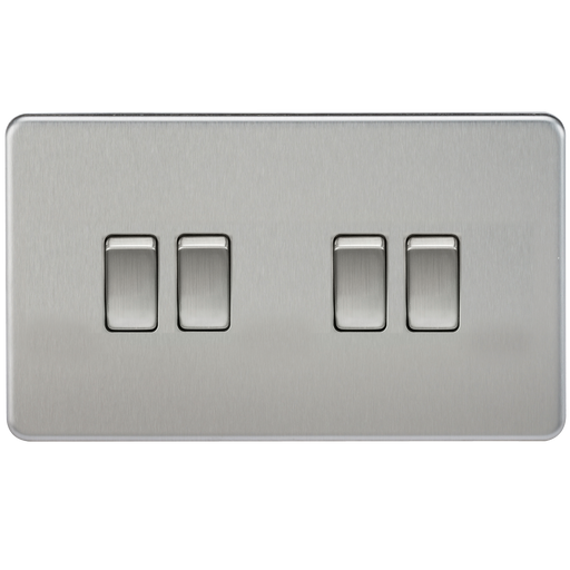 Knightsbridge SF4100BC Screwless 10A 4G 2 WAY Switch - Brushed Chrome - Knightsbridge - sparks-warehouse