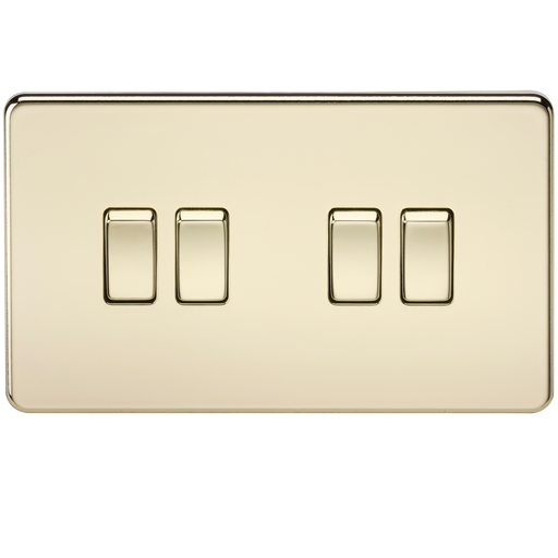 Knightsbridge SF4100PB Screwless 10A 4G 2 WAY Switch - Polished Brass