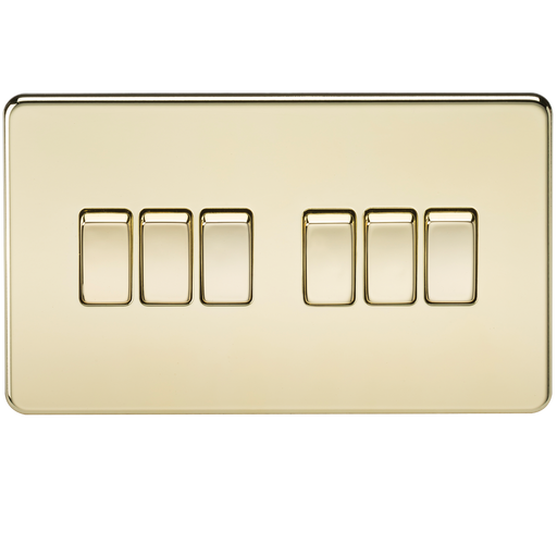 Knightsbridge SF4200PB Screwless 10A 6G 2 WAY Switch - Polished Brass