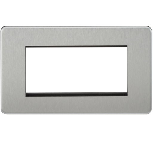 Knightsbridge SF4GBC 4G Modular Face Plate - Brushed Chrome - Knightsbridge - Sparks Warehouse