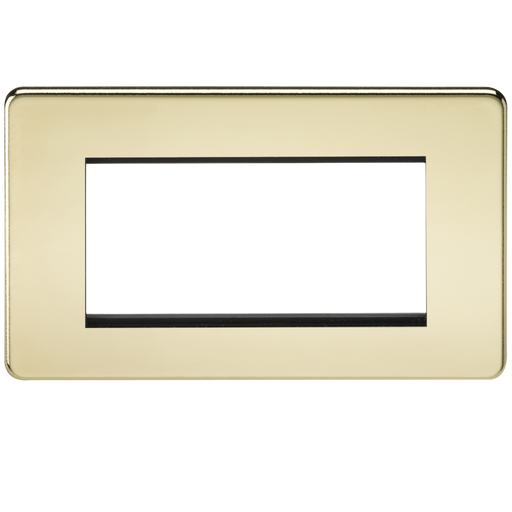 Knightsbridge SF4GPB 4G Modular Face Plate - Polished Brass - Knightsbridge - Sparks Warehouse