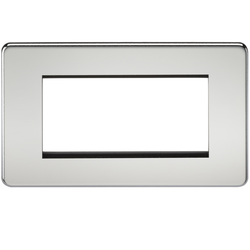 Knightsbridge SF4GPC 4G Modular Face Plate - Polished Chrome - Knightsbridge - Sparks Warehouse