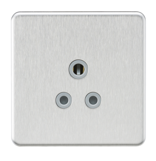 Knightsbridge SF5ABCG Screwless 5A Unswitched Round Socket - Brushed Chrome With grey Insert - Knightsbridge - Sparks Warehouse