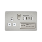 Knightsbridge SF7USB4BCW SCREWLESS 1G 13A SWITCHED SOCKET WITH QUAD USB CHARGER 5V DC 5.1A - BRUSHED CHROME WITH WHITE INSERT