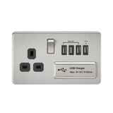 Knightsbridge SF7USB4BC SCREWLESS 1G 13A SWITCHED SOCKET WITH QUAD USB CHARGER 5V DC 5.1A - BRUSHED CHROME WITH BLACK INSERT