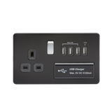 Knightsbridge SF7USB4MB SCREWLESS 1G 13A SWITCHED SOCKET WITH QUAD USB CHARGER 5V DC 5.1A - MATT BLACK WITH CHROME ROCKER