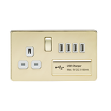 Knightsbridge SF7USB4PBW SCREWLESS 1G 13A SWITCHED SOCKET WITH QUAD USB CHARGER 5V DC 5.1A - POLISHED BRASS WITH WHITE INSERT