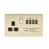 Knightsbridge SF7USB4PB SCREWLESS 1G 13A SWITCHED SOCKET WITH QUAD USB CHARGER 5V DC 5.1A - POLISHED BRASS WITH BLACK INSERT