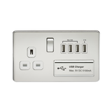 Knightsbridge SF7USB4PCW SCREWLESS 1G 13A SWITCHED SOCKET WITH QUAD USB CHARGER 5V DC 5.1A  - POLISHED CHROME W/WHITE INSERT