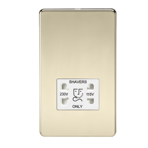Knightsbridge SF8900PBW Screwless 115V/230V Dual VOLTAGE Shaver Socket - Polished Brass With White Insert - Knightsbridge - sparks-warehouse