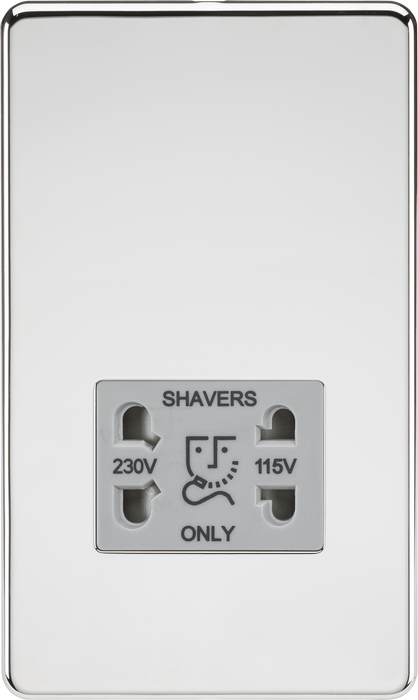 Knightsbridge SF8900PCG Screwless 115/230V Dual Voltage Shaver Socket - Polished Chrome with Grey Insert - Knightsbridge - Sparks Warehouse