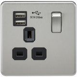 Knightsbridge SF9901BC SCREWLESS 13A 1G SWITCHED SOCKET WITH DUAL USB CHARGER - BRUSHED CHROME WITH BLACK INSERT