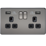 Knightsbridge SF9902BN Screwless 13A 2G Switched Socket With Dual USB Charger - Black Nickel With Black Insert