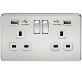 Knightsbridge SF9902PCW Screwless 13A 2G Switched Socket With Dual USB Charger - Polished Chrome With White Insert