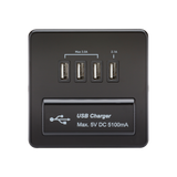 Knightsbridge SFQUADMB Screwless 1G QUAD USB Charger Outlet 5V DC 5.1A - Matt Black With Black Insert