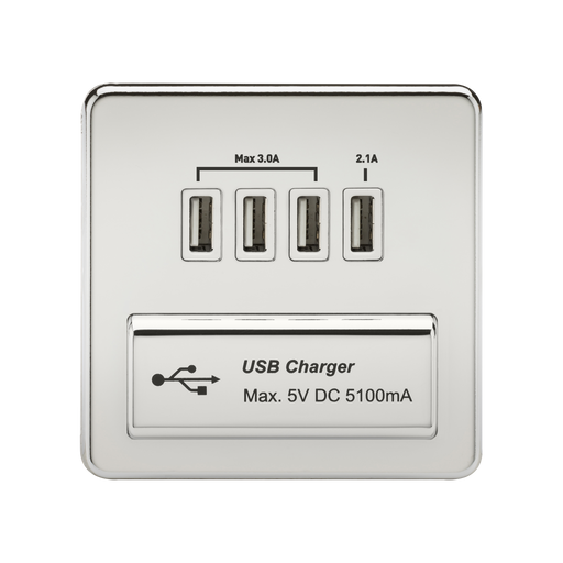 Knightsbridge SFQUADPCW Screwless 1G QUAD USB Charger Outlet 5V DC 5.1A - Polished Chrome With White Insert - Knightsbridge - sparks-warehouse