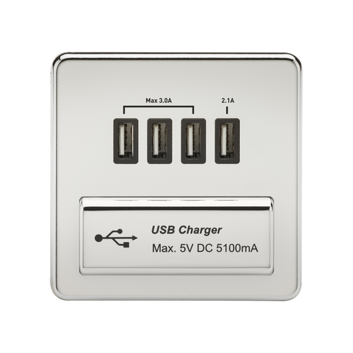 Knightsbridge SFQUADPC Screwless 1G QUAD USB Charger Outlet 5V DC 5.1A - Polished Chrome With Black Insert - Knightsbridge - sparks-warehouse