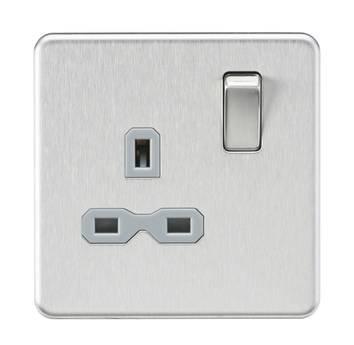Knightsbridge SFR7000BCG Screwless 13A 1G DP Switched Socket - Brushed Chrome With grey Insert - Knightsbridge - Sparks Warehouse
