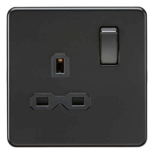 Knightsbridge SFR7000MBB Screwless 13A 1G DP Switched Socket - Matt Black With Black Rocker - Knightsbridge - Sparks Warehouse