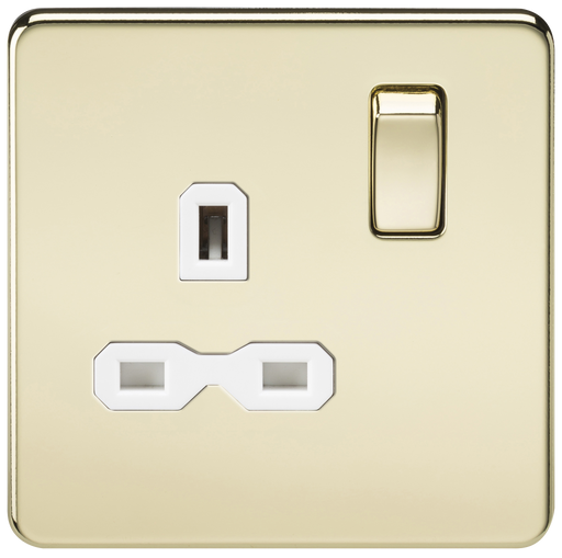 Knightsbridge SFR7000PBW Screwless 13A 1G DP Switched Socket - Polished Brass With White Insert - Knightsbridge - Sparks Warehouse