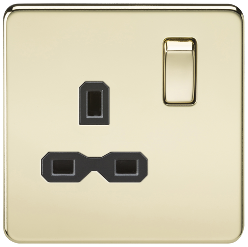 Knightsbridge SFR7000PB Screwless 13A 1G DP Switched Socket - Polished Brass - Knightsbridge - Sparks Warehouse