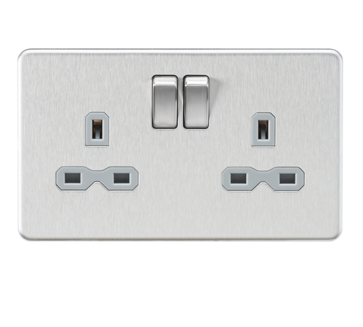 Knightsbridge SFR9000BCG Screwless 13A 2G DP Switched Socket - Brushed Chrome With grey Insert - Knightsbridge - Sparks Warehouse