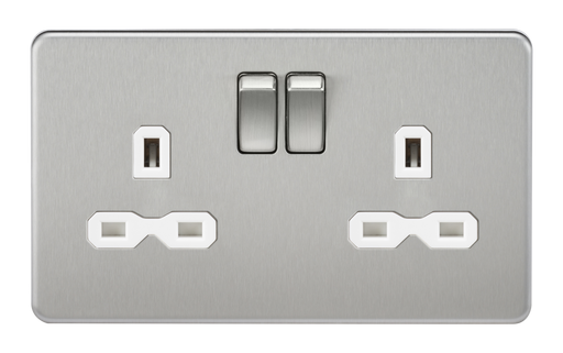 Knightsbridge SFR9000BCW Screwless 13A 2G DP Switched Socket - Brushed Chrome With White Insert - Knightsbridge - Sparks Warehouse