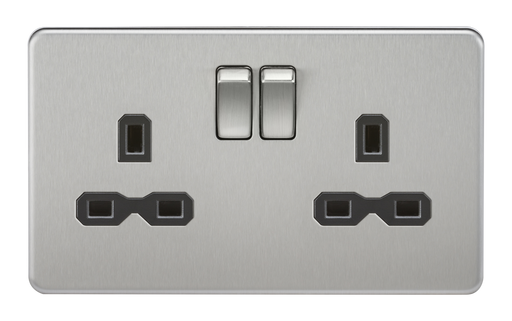 Knightsbridge SFR9000BC Screwless 13A 2G DP Switched Socket - Brushed Chrome With Black Insert - Knightsbridge - Sparks Warehouse