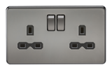 Knightsbridge SFR9000BN SCREWLESS 13A 2G DP SWITCHED SOCKET - BLACK NICKEL WITH BLACK INSERT
