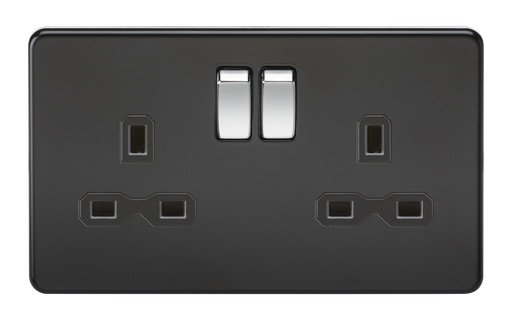 Knightsbridge SFR9000MB Screwless 13A 2G DP Switched Socket - Matt Black - Chrome Rocker - Knightsbridge - Sparks Warehouse