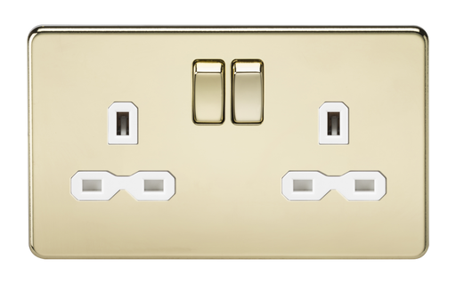 Knightsbridge SFR9000PBW Screwless 13A 2G DP Switched Socket - Polished Brass With White Insert - Knightsbridge - Sparks Warehouse