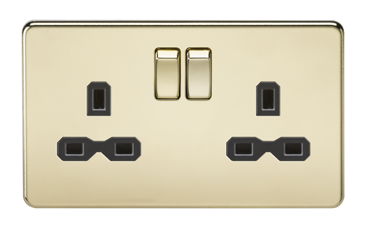 Knightsbridge SFR9000PB Screwless 13A 2G DP Switched Socket - Polished Brass With Black Insert - Knightsbridge - Sparks Warehouse