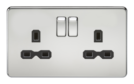 Knightsbridge SFR9000PC Screwless 13A 2G DP Switched Socket - Polished Chrome With Black Insert - Knightsbridge - Sparks Warehouse