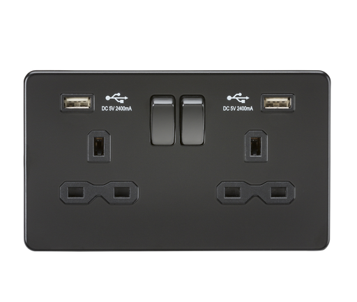 Knightsbridge SFR9224MBB Screwless 13A 2G Switched Socket With Dual USB Charger - Matt Black - Knightsbridge - Sparks Warehouse