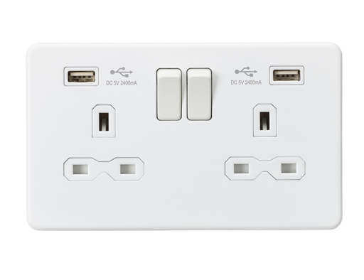 Knightsbridge SFR9224MW Screwless 13A 2G Switched Socket With Dual USB Charger - Matt White - Knightsbridge - Sparks Warehouse